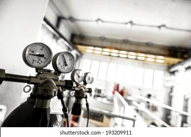 Manometer of an air compressor closeup photo