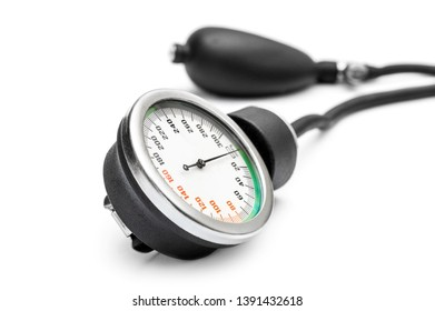 Manometer for measuring blood pressure on white background.