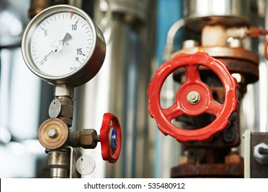 manometer pipes and valve in boiler room