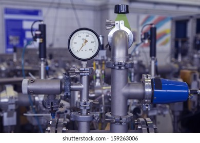 Manometer, precise instrument in nuclear laboratory, close up, selective focus, industrial blue toned
