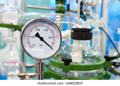 Manometer pressure gauge in chemical laboratory