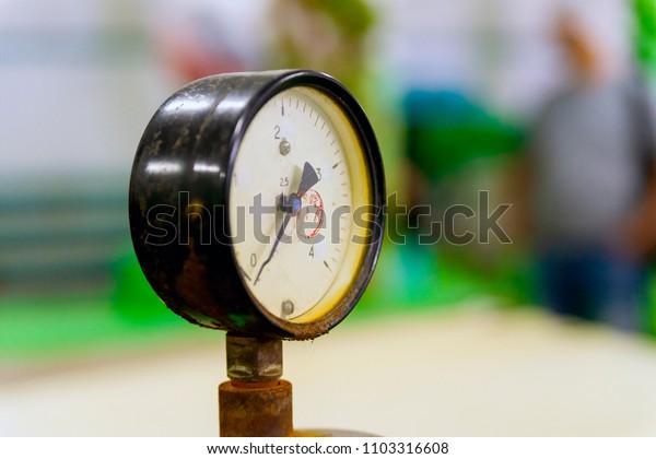 Manometer or pressure gauge at industrial factory