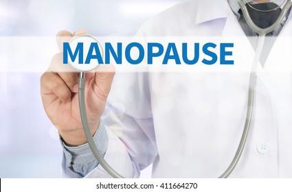 MANOPAUSE Medicine doctor hand working on virtual screen