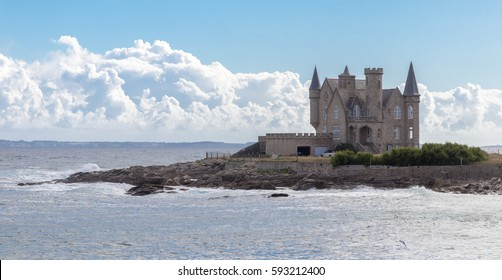 Manor house at the rocky coast of Brittany, or Bretagne, western France