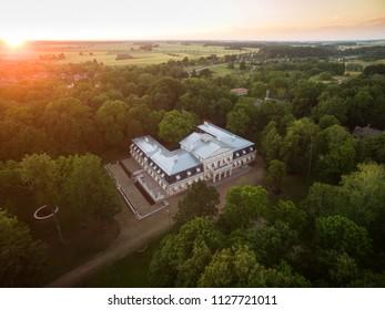 Žagarė manor, Lithuania - July 5, 2018: drone photography at late sunset; Žagarės dvaras.