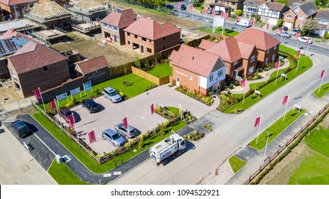 Manor Park, Rainham, Kent / UK - May 4 2018: Aerial progress photos of Redrow homes 'Manor Park' housing estate in Rainham, Kent