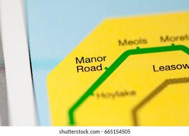 Manor Road Station. Liverpool Metro map.