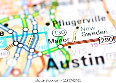 Manor. Texas. USA on a map