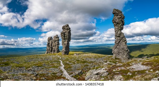 Manpupuner rock formations. А set of 7 stone pillars located west of the Ural mountains in the Troitsko-Pechorsky District of the Komi Republic
