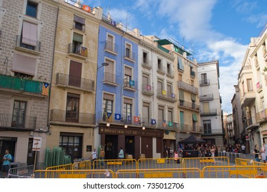 MANRESA ,SPAIN  - SEPTEMBER 03, 2017: Numerous independence flags flood the balconies in the town hall square of Manresa, catalonia, Spain on September 03, 2017