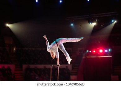 Man's aerial acrobatics in the Circus