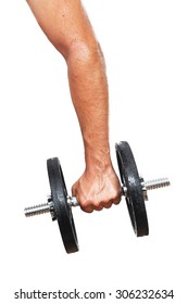 Man's arm holding a black dumbbell isolated on white
