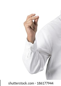 man's arm with white shirt in the act of snapping fingers isolated on white.