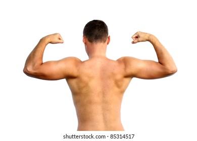 Man's back isolated on white