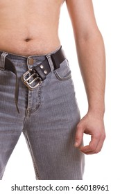 Man's body in jeans, croped image isolated on white background