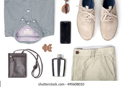 mans clothing and accessories set isolated on white background top view. modern and casual outfit. fashion, shopping and style concept. online shop