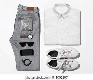 Man's clothing (shirt,jean,wallet,watch,sunglasses,phone,earphone and shoe)