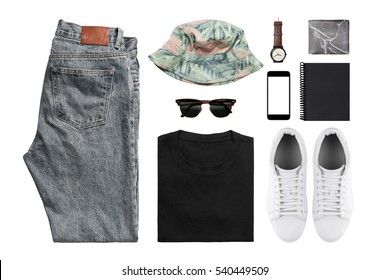 Man's clothing (shirt,jean,wallet,watch,sunglasses,phone,earphone shoe.) on wood background with clipping path