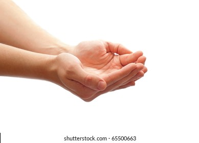 Man's cupped hands isolated on white background
