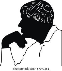 Man's dreams and thoughts (cards, many, wine, woman) - black male silhouette - grotesque illustration isolated  on white background.