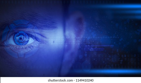 Man's eye, abstract dark background, neon light, holographic display, laser beam, social connections and additional reality