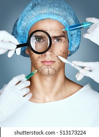 Man's face and many hands with syringes and scalpels near his face. Surgical mark lines on forehead, eyes, nose, cheekbone and jaw. Plastic Surgery concept