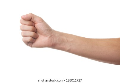 Man's fist isolated on white background
