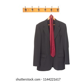 Mans grey suit jacket and tie on hanger, hung up and isolated on white. Retirement, redundancy concept or working late.