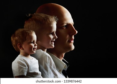 Man's growing up, kid, boy, guy. concept of human adulthood. portrait in profile on black background