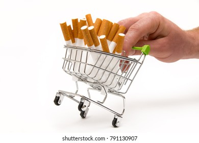 Man's hand with a cart of cigarettes