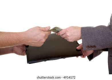 Man's hand with dollars and folder isolated at the white background