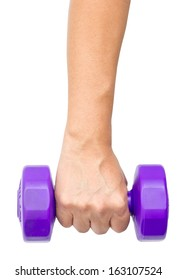Man's Hand With Dumbbell Isolated on White.