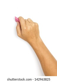 A man's hand erasing something on white background