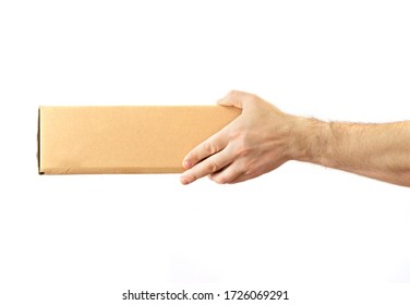 man's hand feeds the boxes. White background. delivery concept. layout for various ideas. copy space.