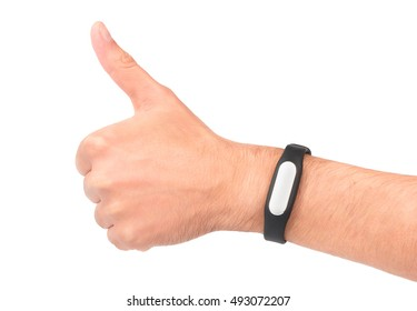 Man's hand with fitness bracelet shows Like on a white background