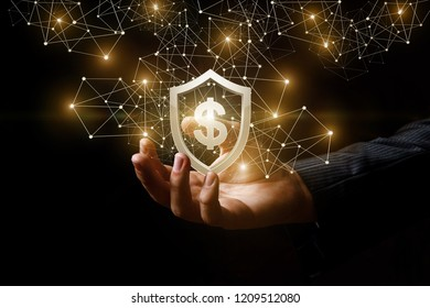 A man's hand with a golden shield and a dollar sign inside at the dark background emitting bright light. The concept is the financial defense.