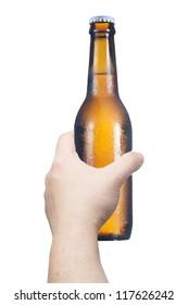Man's hand holding the beer bottle. Concept for celebration