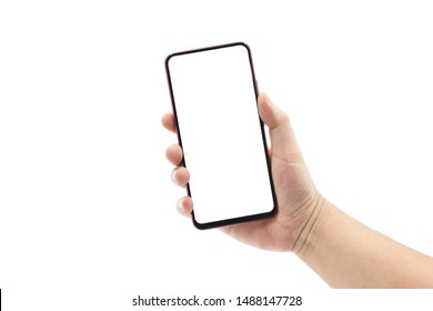 A man's hand holding a black smartphone isolated on white