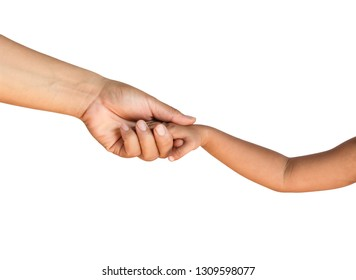 Man's hand holding child's hand on white background, isolate with clipping path.