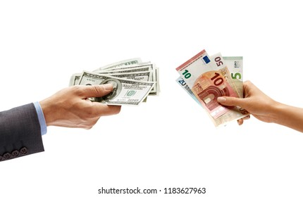 Man's hand holding dollars moneyand woman's hand holding euro money isolated on white background. Close up. Currency exchange. High resolution product