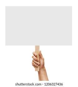 Man's hand holding empty board on white background. Copy space for your text. Close up. High resolution product