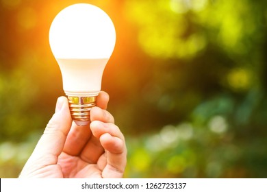 Man's hand holding glowing LED light bulb on a green backgroud. Energy saving concept. Free space for text or advertising.
