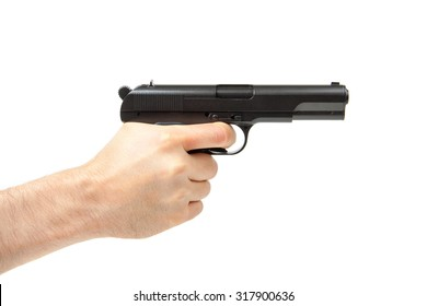 Man's hand holding gun, isolated on white background.