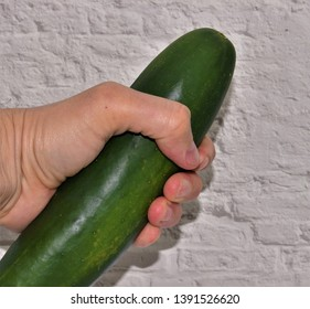 Man's hand is holding a large green cucumber against a white brick roses depicting sensuality and masturbation