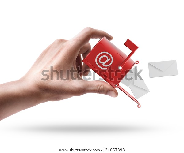 Man's hand holding Mailbox with flying letters isolated on white background