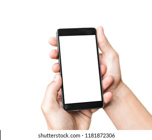 Man`s hand holding mobile smart phone with blank screen, isolated on a white background.