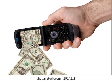 man's hand holding modern cell phone with money spilling out of the screen isolated over white