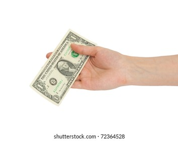 A man's hand holding a one dollar bill.