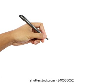 man's hand holding a pen isolated on a white background