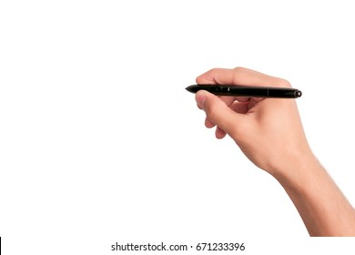 Man's hand holding pen and writing on virtual screen isolated on white background